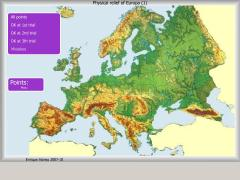 Pysical relief of Europe. Where is ... ?